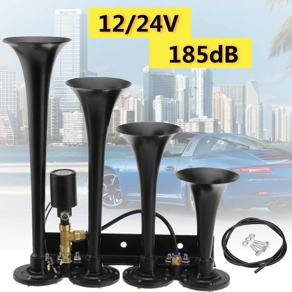 12V-24V 185DB Super Loud 4 Trumpet Air Horn Black / Silver For CAR/TRUCK/BOAT/TRAIN Trailer Vehicle