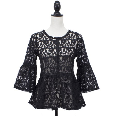 SAY Styles All Yours Womens Openwork Crochet Floral Lace Bell Sleeve Blouse One Piece (Small,