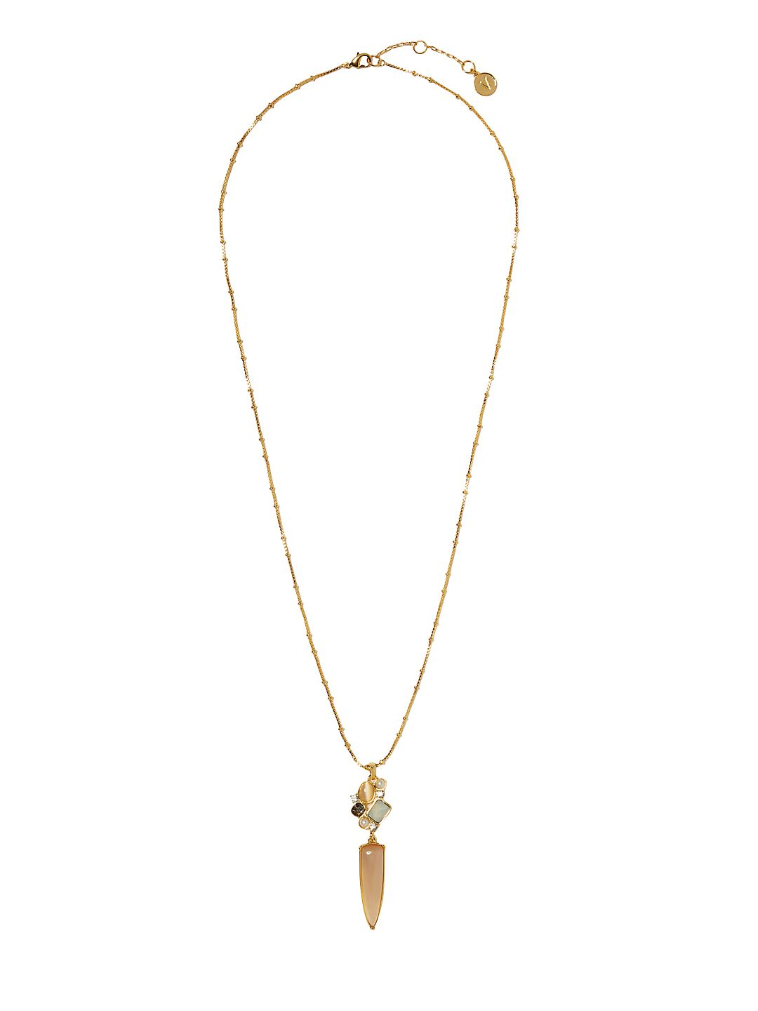 Goldtone and Glass Stone Cluster Pendant Necklace