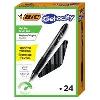 BIC Gelocity Original Retractable Gel Pen, Medium Point (0.7 mm), Black, 24-Count