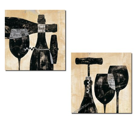 Beautiful Contemporary Black and Cream Wine Bottle and Glass Silhouette Print Set by Daphne Brissonnet; Two 12x12in Poster Prints Beautiful Black Glass