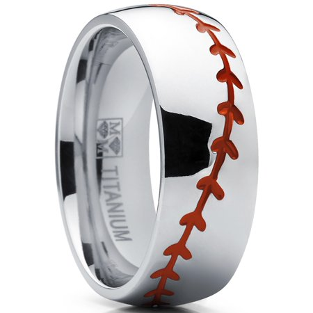 Matte Polished Titanium Ring (Titanium Sports Baseball Ring Wedding Band with Red Stitching, Comfort Fit, Dome High Polish Finish 8mm Sizes 8 to 13)