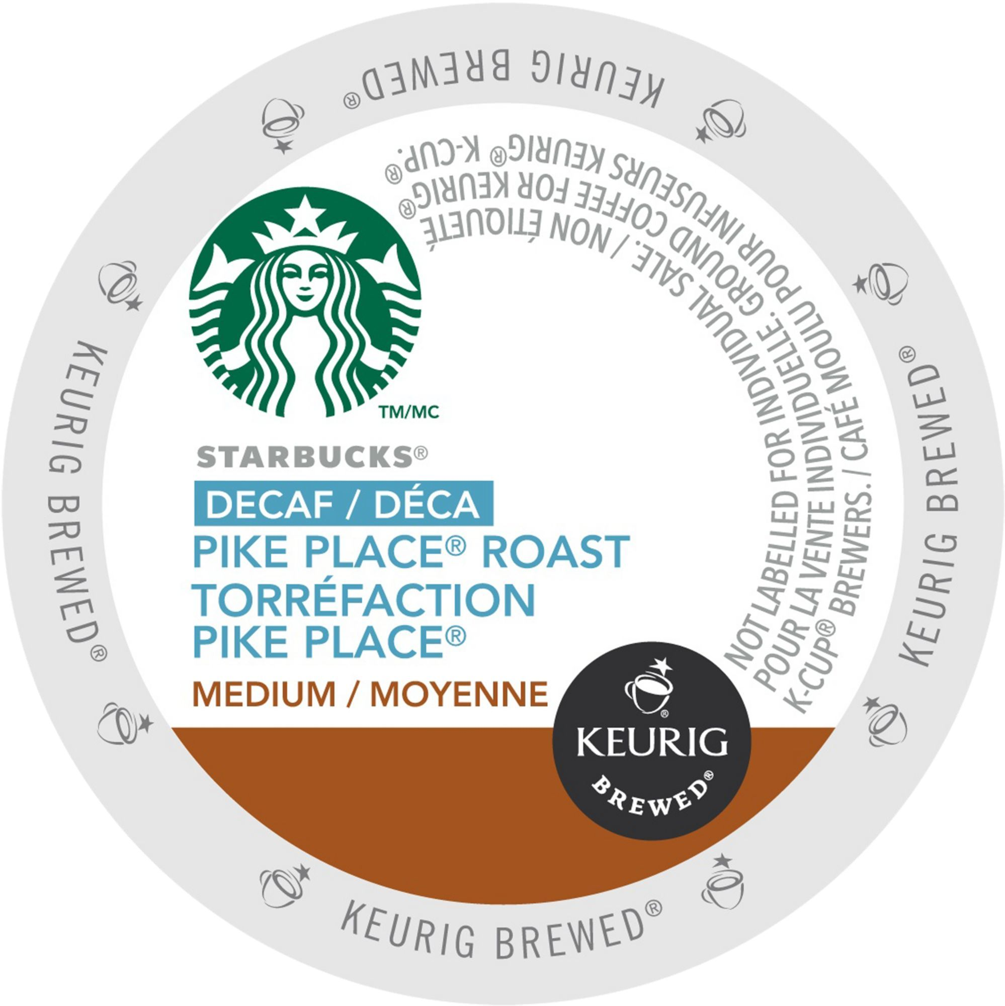 Starbucks Decaf Pike Place Roast Coffee, K-Cup Portion Pack for Keurig Brewers