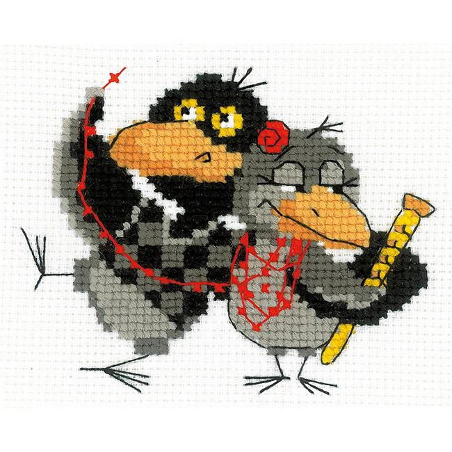 6.25 x 5 in. Two Ravens Counted Cross Stitch Kit