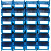 "LocBin 26-Piece Wall Storage Unit with 7-3/8""L x 4-1/8""W x 3""H Interlocking Poly Bins, 24ct, Wall Mount Rails 8-3/4""L with Hardware, 2pk"