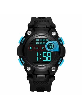 Kids Multifunctional Electronic Watch Outdoor Sports Waterproof Digital LED Watches ,blue