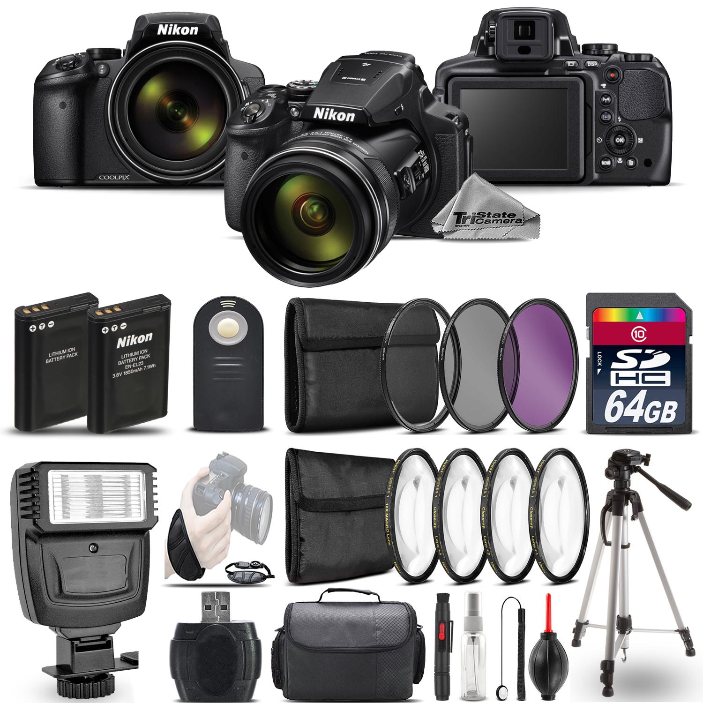 Nikon COOLPIX P900 Digital Camera 83x + Flash + 7PC Filter + EXT BAT - 64GB Kit