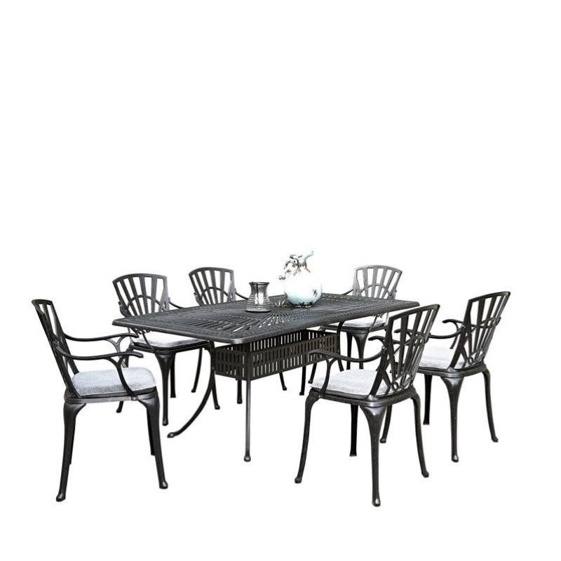 Bowery Hill 7 Piece Patio Dining Room Set with Cushions in Charcoal by Bowery Hill