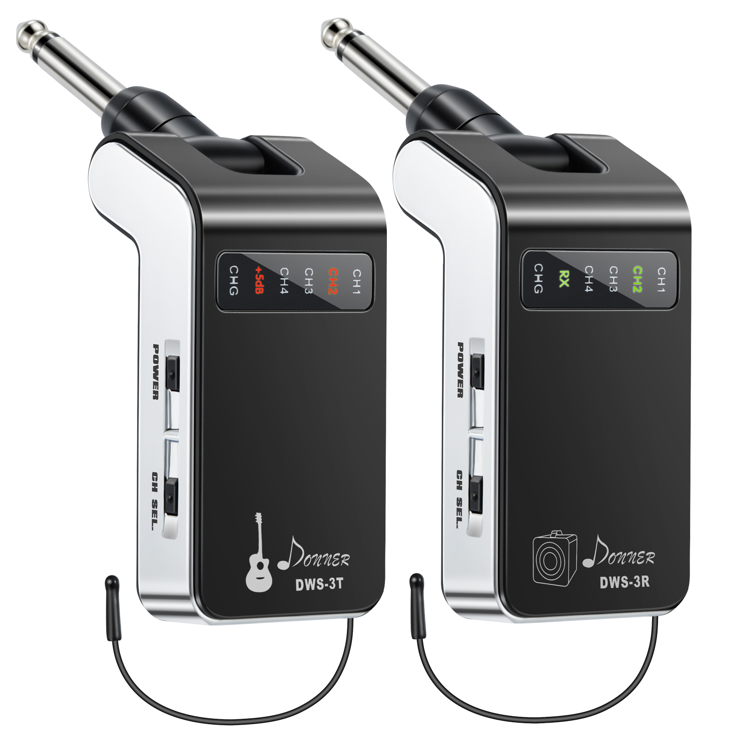 New Version Donner Rechargeable Wireless Guitar System DWS-3 Digital Guitar Bass Audio Transmitter and Receiver