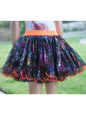 Wenchoice Girls Orange Multi Color Spider Web Print Fluffy Tutu Skirt