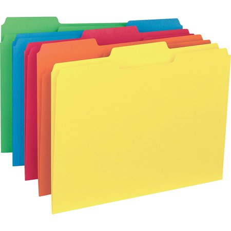 Business Source, BSN43561, 1/3-cut Colored Interior File Folders, 100 / Box, Assorted