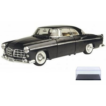 Diecast Car & Display Case Package - 1955 Chrysler C300, Black - Motormax Premium American 73302 - 1/24 Scale Diecast Model Car w/Display Case (Diecast Case Backhoe)