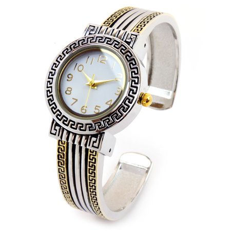 2Tone Decorated Bezel Luxury Women's Fashion Bangle Cuff Watch (Leather Cuff Bangle Fashion Watches)
