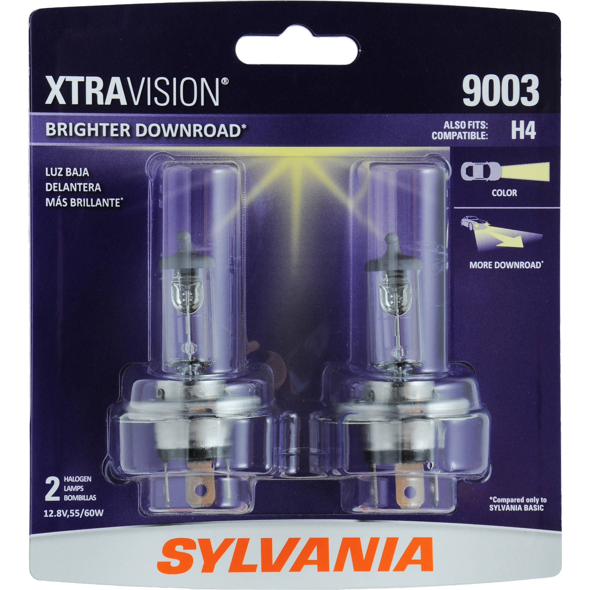 Sylvania 9003/HB2 XtraVision Headlight, Contains 2 Bulbs