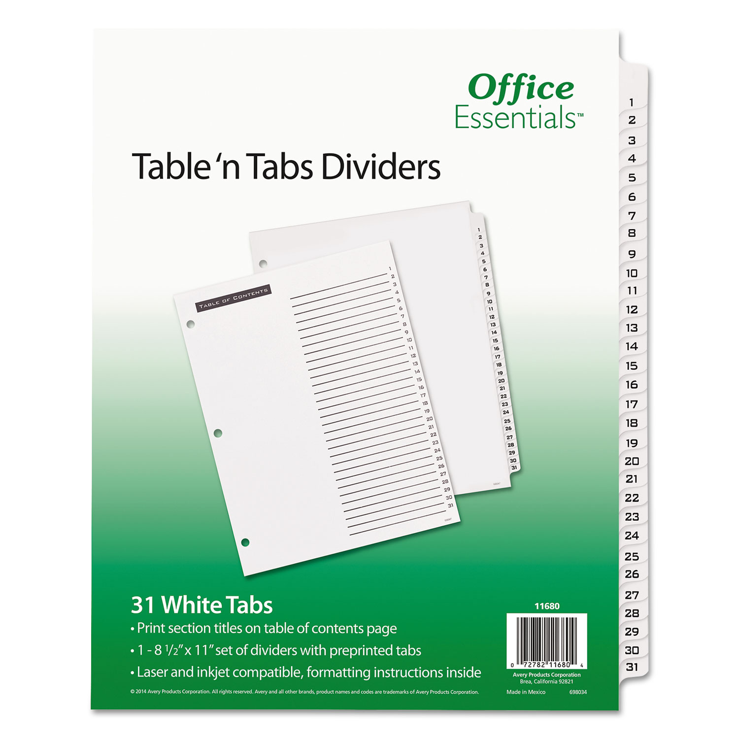 "Office Essentials  Table 'n Tabs  Dividers, 8-1/2"" x 11"", 1-31 Tab, White Tab, White Body, Laser/Inkjet, 1 Set/ST"