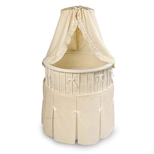 Badger Basket Elegance Bassinet, White With Ecru Waffle Bedding by Badger Basket