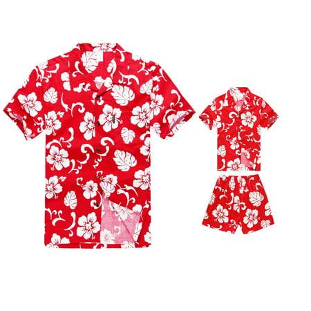 Matching Father Son Hawaiian Luau Outfit Men Shirt Boy Shirt Shorts PW Red Hibiscus M-4](Luau Menu)