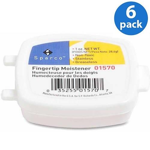 (6 Pack) Sparco, SPR01570, 1 Oz. Greaseless Fingertip Moistener, 1 Each, White