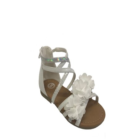 Girls' Wonder Nation Flower Gladiator Sandals - Girls Jeweled Sandals