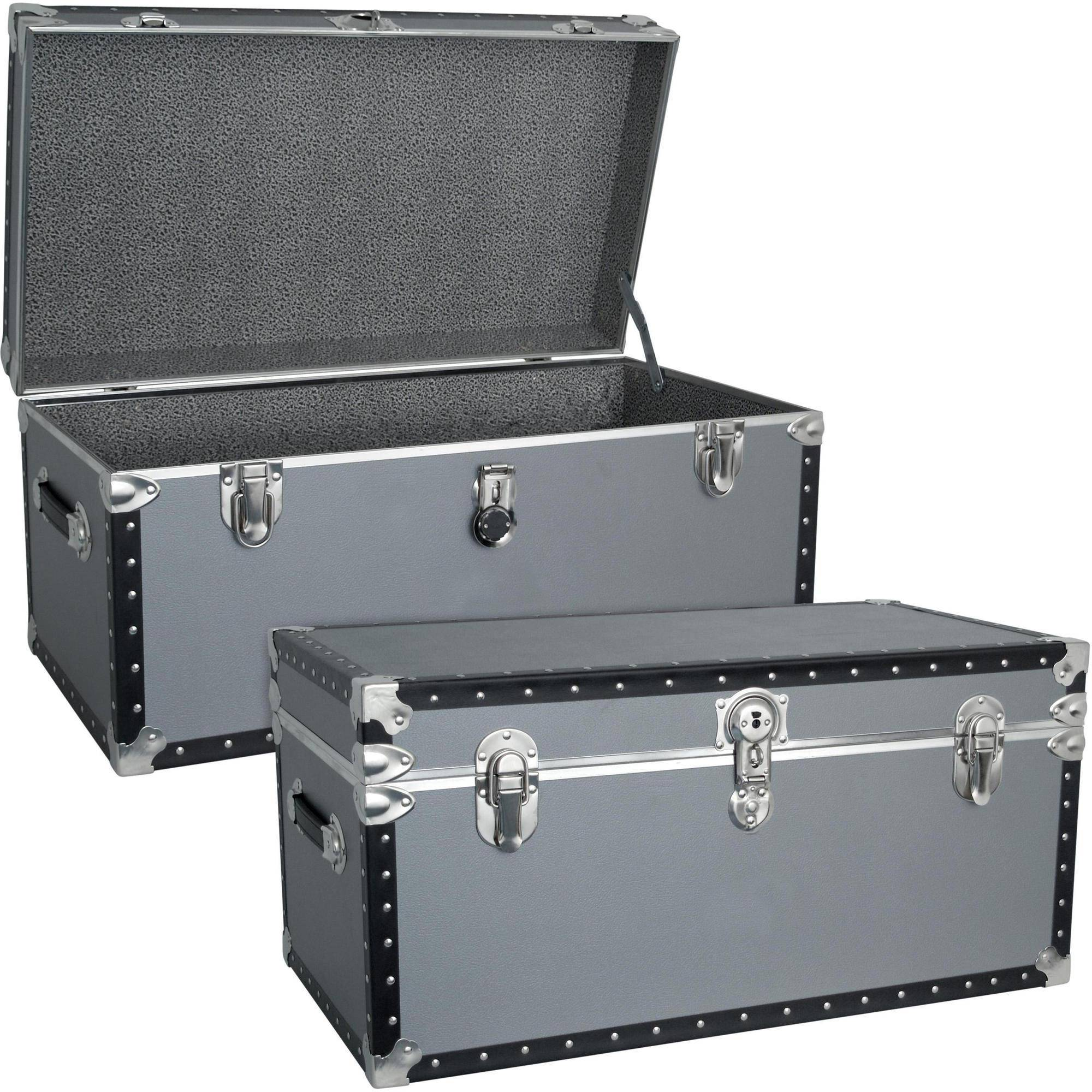 Mercury Luggage Seward Trunk 31 Inch Stackable Footlocker Trunk, Silver    Walmart.com