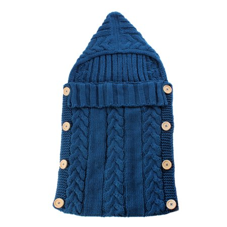 Infant Swaddle Blankets Soft Thick Breathable Knit Stroller Wraps Sleeping Sack Keep Warm Outdoor Button Closure Hooded Design for Unisex Baby Toddler - Blue Acrylic Nhl Baby Blanket
