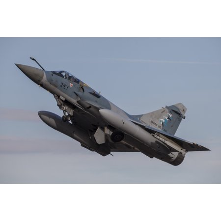 - A French Air Force Mirage 2000-5 fighter jet taking off Stretched Canvas - Timm ZiegenthalerStocktrek Images (34 x 23)