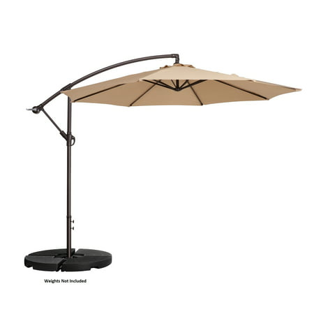 Villacera 10' Offset Outdoor Patio Umbrella with 8 Steel Ribs and Aluminum Pole and Vertical Tilt, Beige