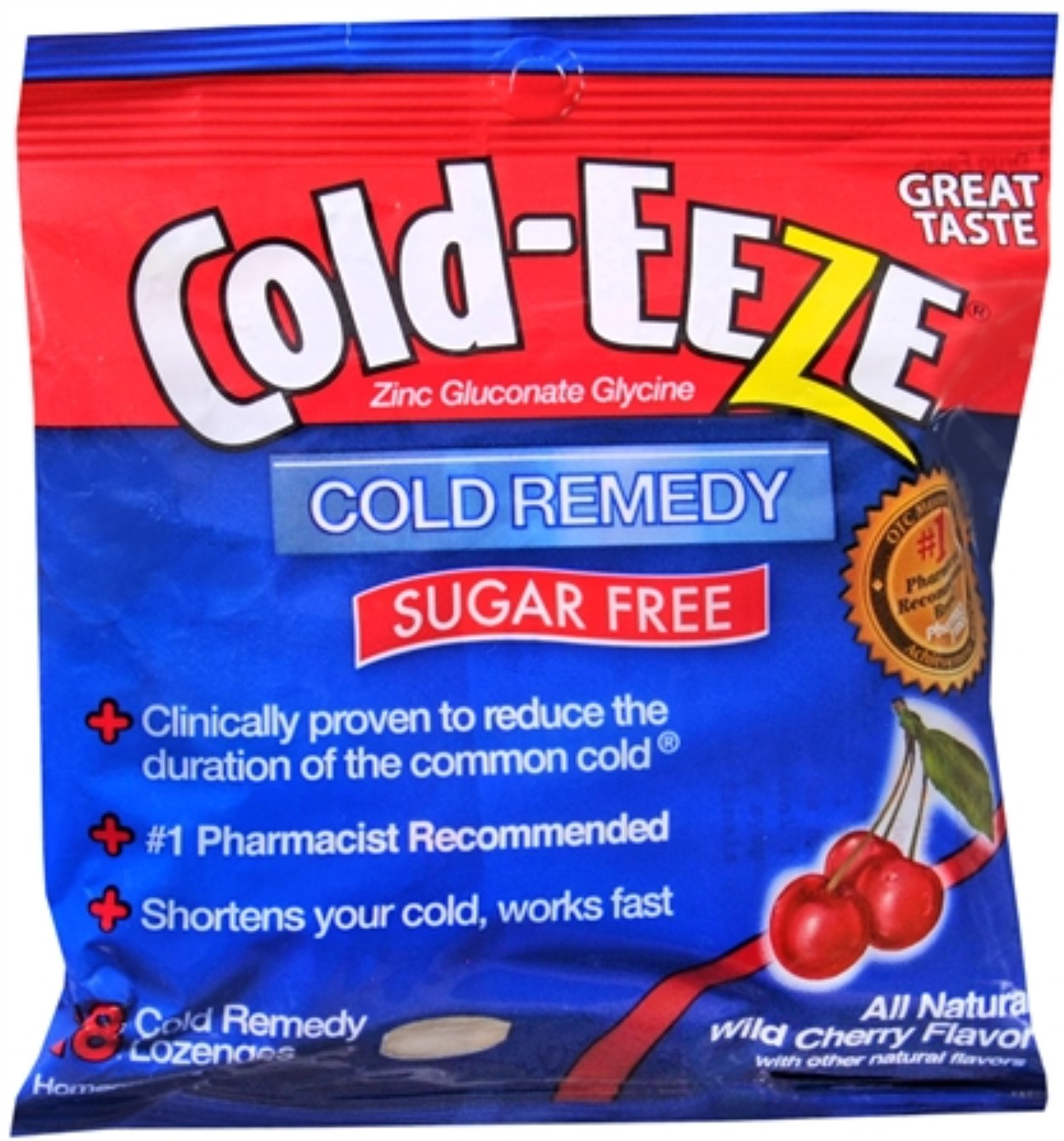 COLD-EEZE Lozenges Natural Wild Cherry Flavor Sugar Free 18 Each (Pack of 2)