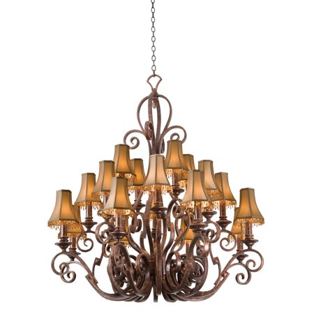 """Chandeliers 20 Light Bulb Fixture With French Cream Finish Hand Forged Iron E12 Light Beige Shade 51"""" 800 Watts"""