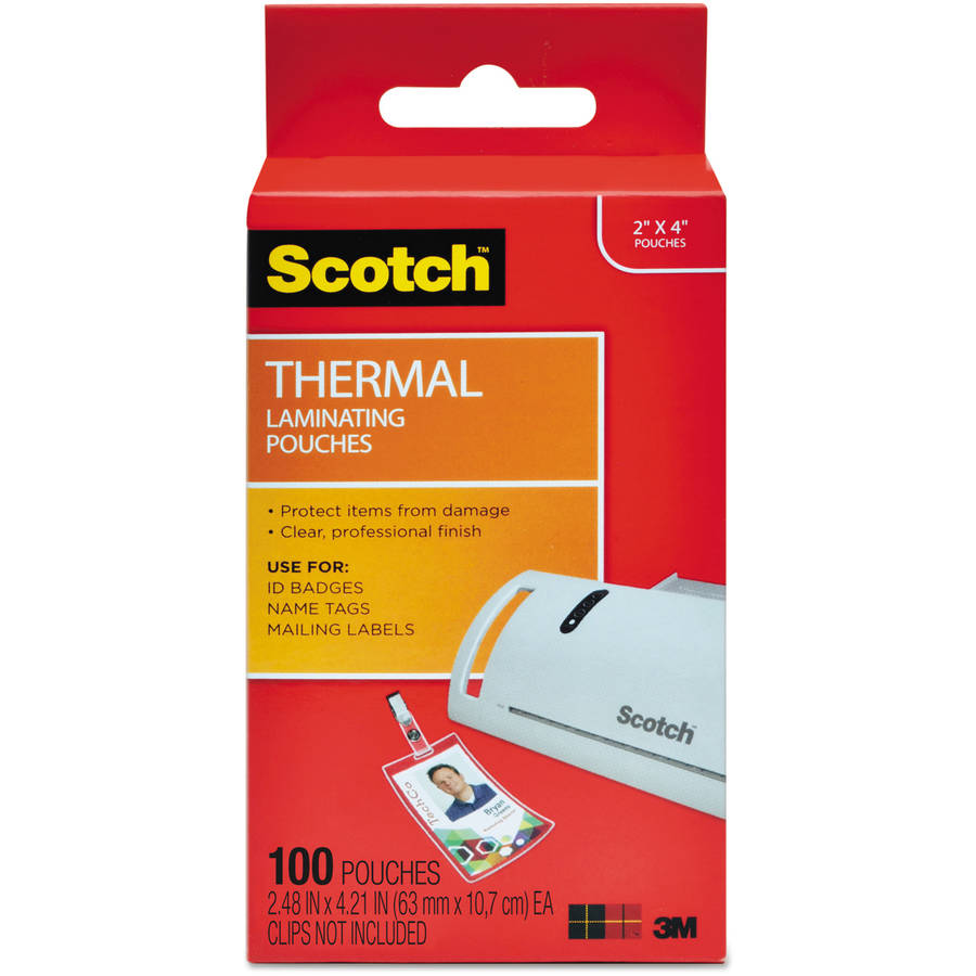 "Scotch ID Badge Size Thermal Laminating Pouches, 5 mil, 4-1/4"" x 2-1/5"", 100pk"