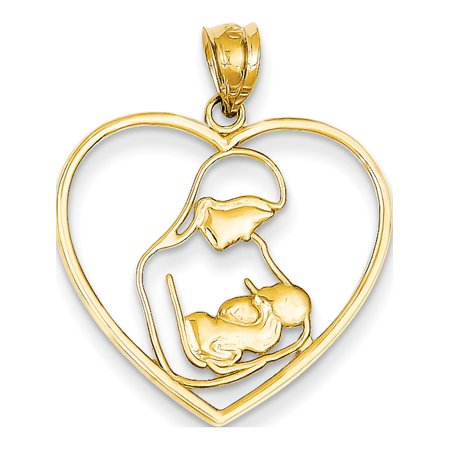 Leslies Fine Jewelry Designer 14k Yellow Gold Mother & Child in Heart (23x28mm) Pendant (Mom Child Jewelry)