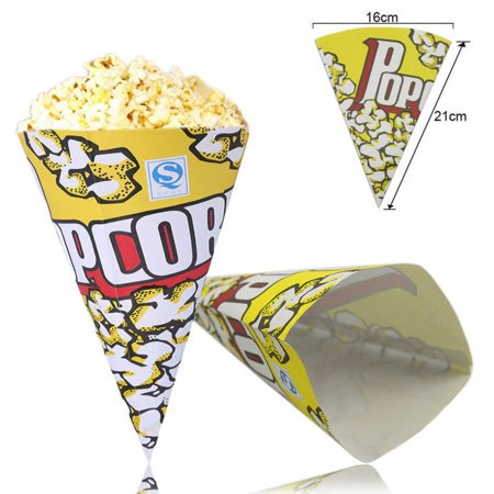 100pcs Yellow Cone Popcorn Paper Pack Bags Movie Party Cookie Supply Bags - Popcorn Cones