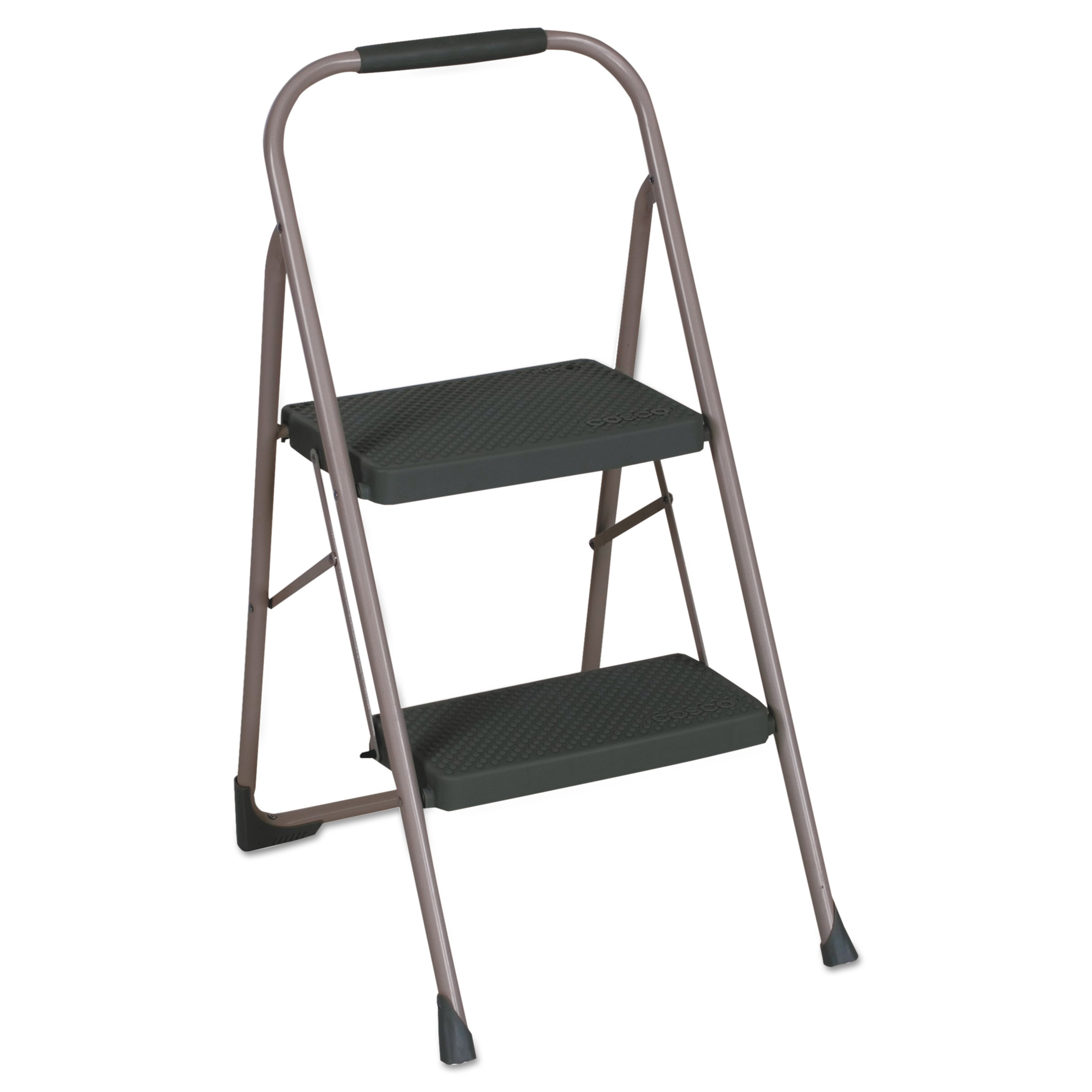 "Cosco 2-Step Big Step Folding Stool, 200lb, 22"" Spread, Black/Gray"