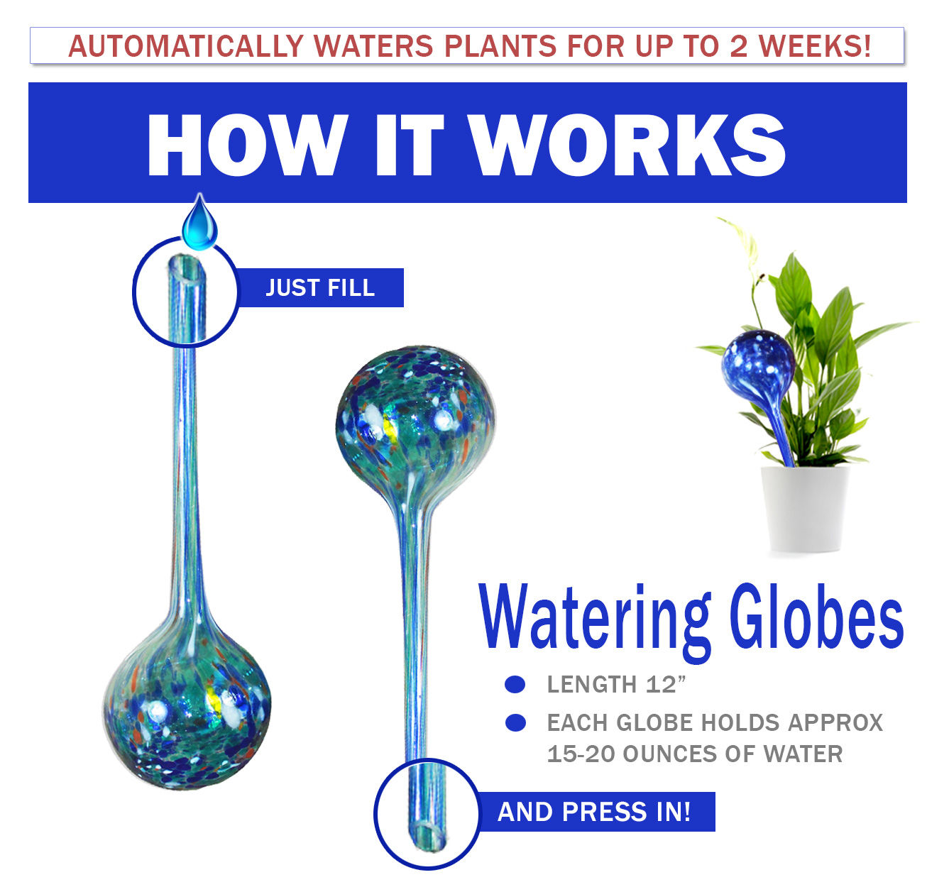 Glass Watering Globes Automatic Glass Watering Bulbs Plant Watering Globes Waterers Dripping Equipment for Indoor Outdoor Garden Potted Plants 2.95 inch Diameter 3-Pack