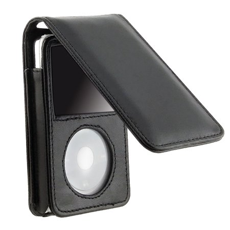 Black Folding Leather Case for Apple iPod Video 5th Generation 5.5G ONLY -