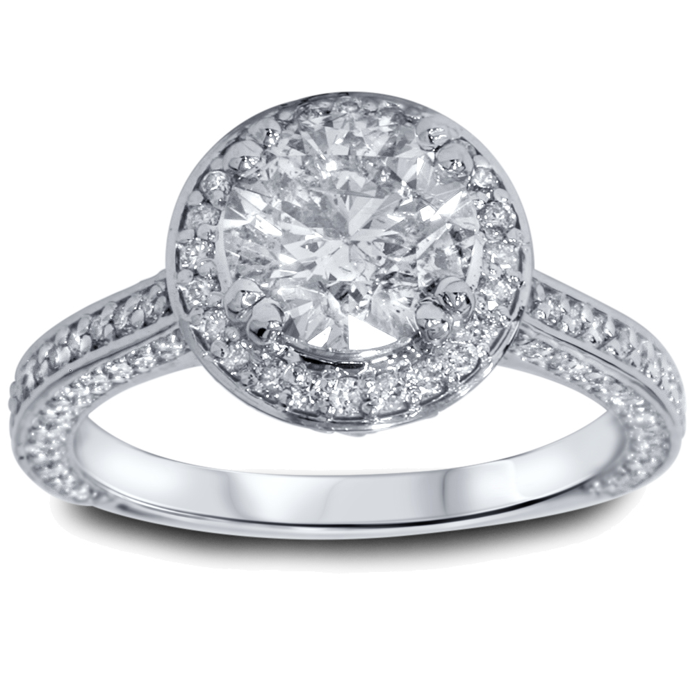 2 1/5ct Halo Micropave Heirloom Diamond Engagement Ring 14K White Gold
