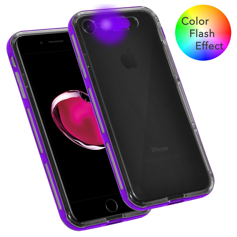 iPhone 7 Dual Layer Soft TPU Case Hard Bumper LED Color Flash Effect Case Light up Incoming Call Flash Cover - Clear/ Purple