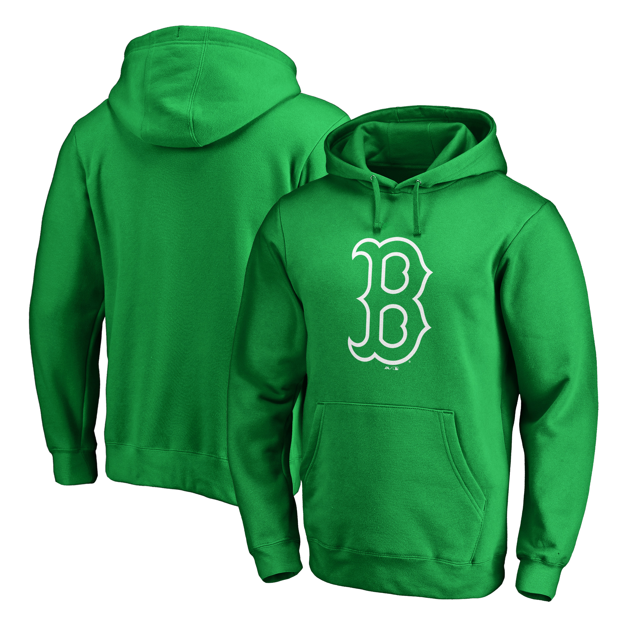 Boston Red Sox Majestic St. Patrick's Day White Logo Pullover Hoodie - Kelly Green