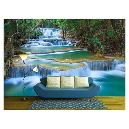 wall26 Deep Forest Waterfall in Kanchanaburi, Thailand - Removable Wall Mural | Self-adhesive Large Wallpaper - 66x96 inches ()