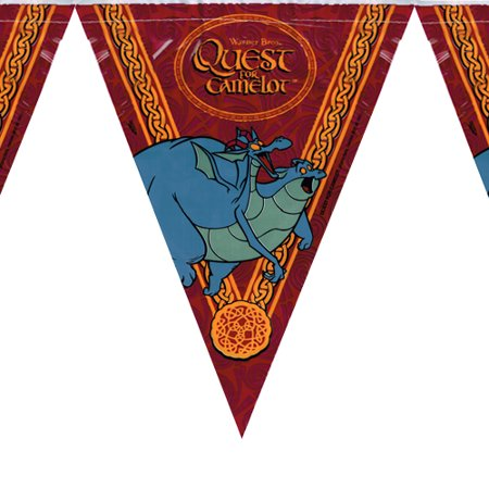 Quest for Camelot Vintage 1998 Plastic Flag Banner (1ct)
