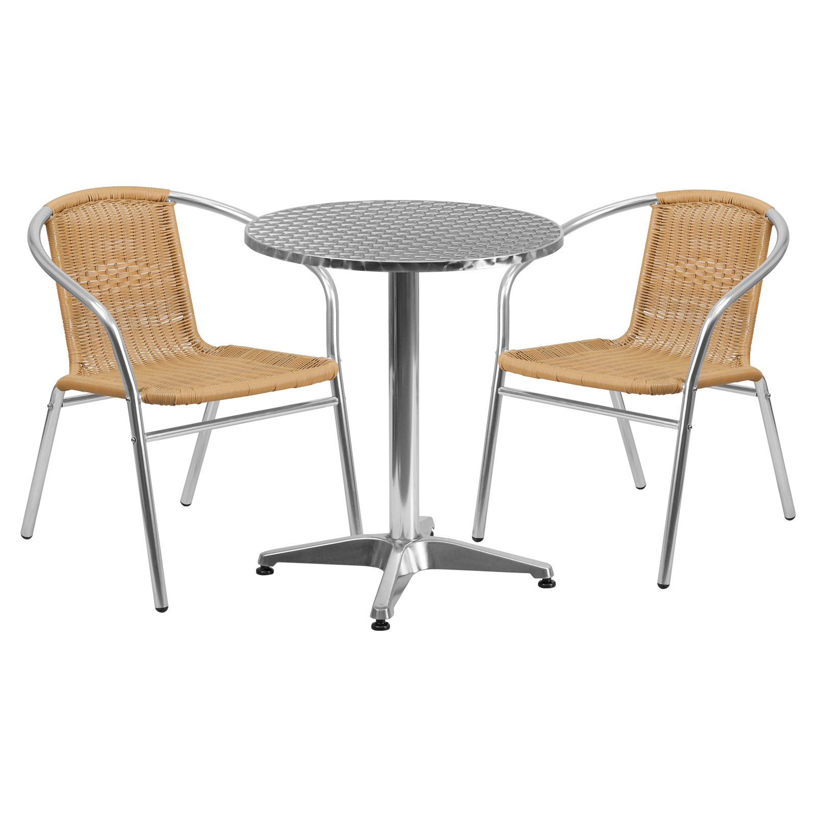 Flash Furniture 23 5 Round Aluminum Indoor Outdoor Table With 2 Rattan Chairs Multiple Colors