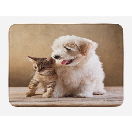 Animal Bath Mat, Cute Baby Cat Kitten and Puppy Dog Best Friends Image Photo Artwork, Non-Slip Plush Mat Bathroom Kitchen Laundry Room Decor, 29.5 X 17.5 Inches, Sand Brown Cream and White,