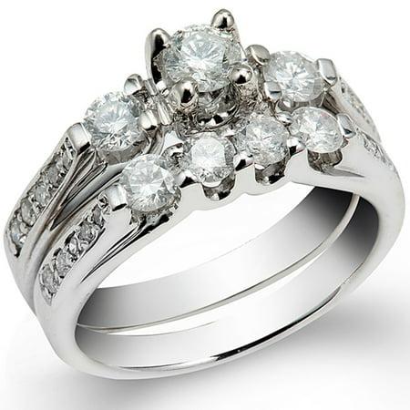 Diamond Bridal Set Semi Mount (1.00 Carat (Ctw) 14k White Gold Round Diamond Ladies Bridal Semi Mount Ring Wedding Set (No Center Stone))
