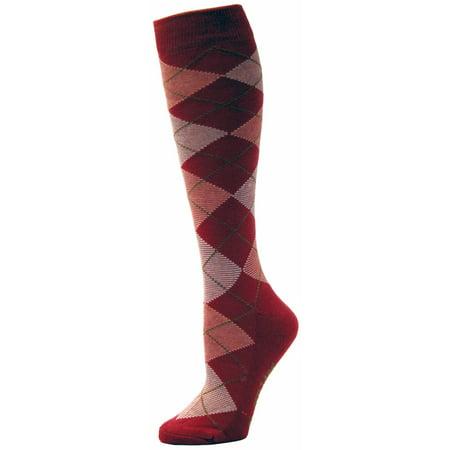 - TuffRider Ecogreen Bamboo Argyle Socks, Hot Pink/White
