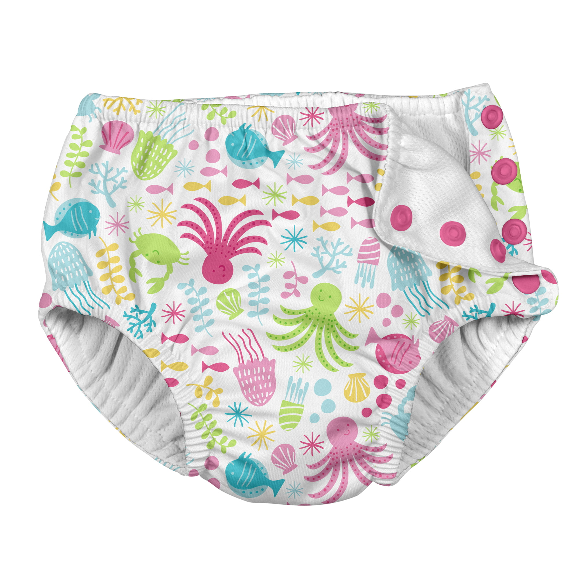 i play 4T by green sprouts Baby Toddler Girls Snap Reusable Absorbent Swimsuit Diaper White Sea Pals