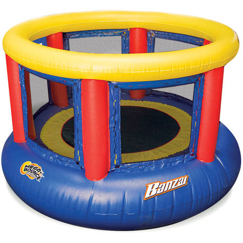Click here to buy Banzai 8-Foot Mega Bounce Trampoline, Blue Red Yellow by Banzai.