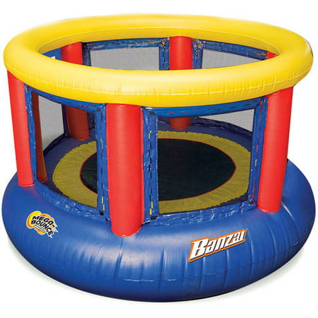 Banzai 8-Foot Mega Bounce Trampoline, Blue/Red/Yellow