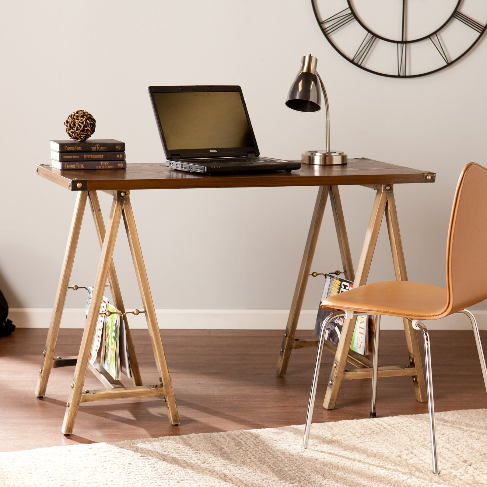 Southern Enterprises Downing Sawhorse Writing Desk - Antique Bronze / Weathered Oak