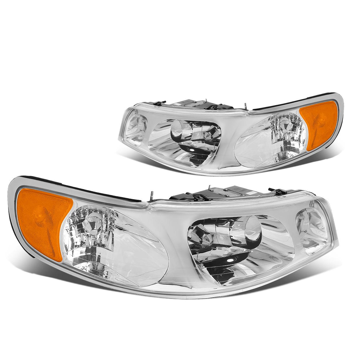 For 1998 To 2002 Lincoln Town Car Headlight Chrome Housing Amber Corner Headlamp 99 00 01 Left