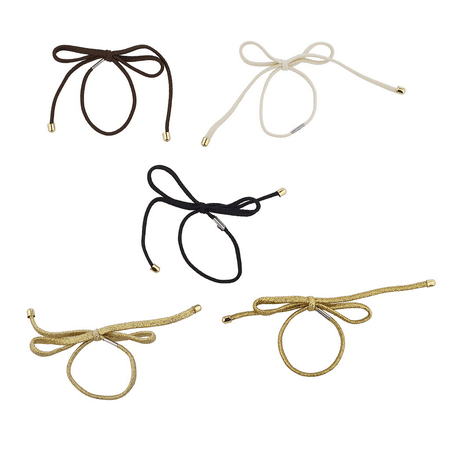 Lux Accessories Gold Tone Assorted Bow Stretch Elastic Ponytail Hair Tie Set - Ponytail Bow